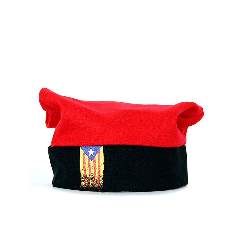 Barretina tradicional catalana de 5 pams roja amb estelada pintada a mà