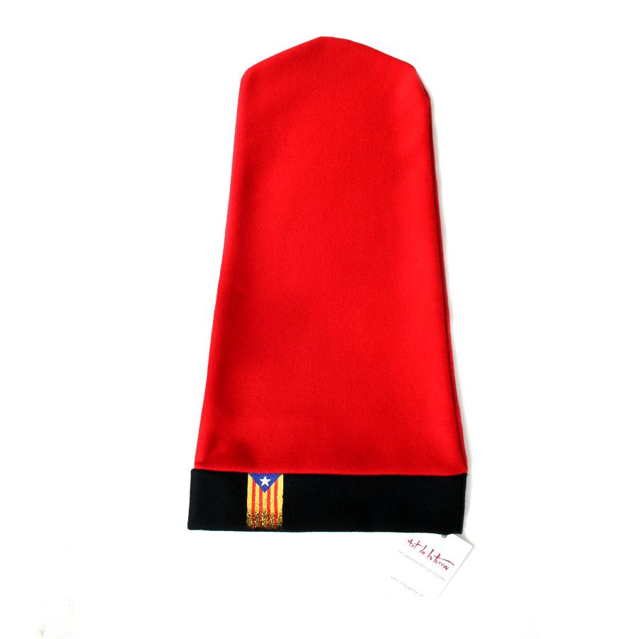 Barretina estirada de 5 pams roja amb estelada pintada a mà