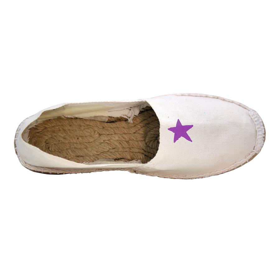Espardenya blanca amb estel lila