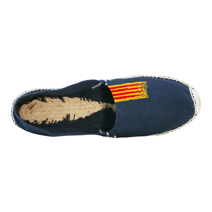 Espardenya blau marí pintada amb senyera superior