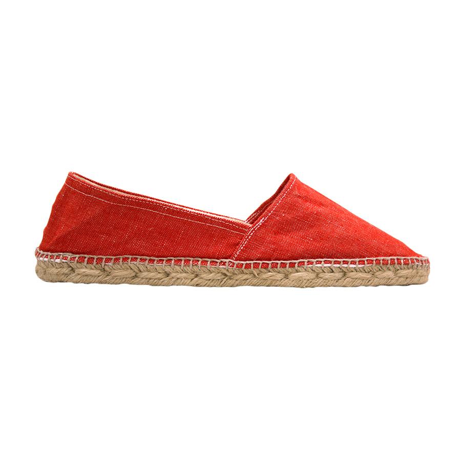 Lateral 2 d'espardenya amb roba vermella llisa