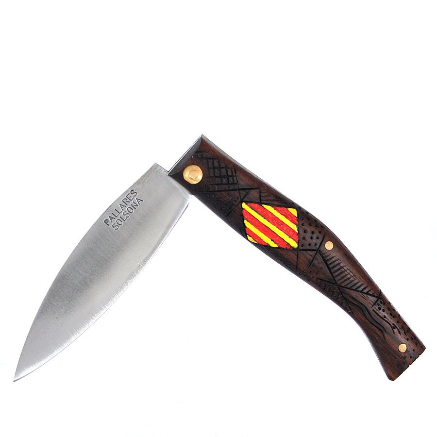 Costat navalla amb escut Català pintat i pirogravat a mà